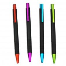 Διαφημιστικά στυλό με μαύρο κορμό σε 4 μεταλλικά χρώματα ασορτί